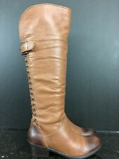 Diba Women's Leather Combat Zipper  Stud  Knee High Calf Boots Size 6.5 M  #9