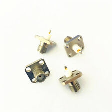 5pc Gold SMA (SMA-KFD4) female PTFE with 4 holes flange solder connector high qu