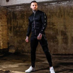 Mens Thin Tracksuit 2 Piece Casual Pants Jacket Sweatsuit Hip Hop Sweatshirt Set