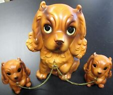 "Vintage Cocker Spaniel Dog w/2 Baby Dogs On Chains ""Made In Japan"""
