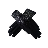 Diamante Pearl Embellished Ladies Women/'s Warm Winter Gloves IVORY
