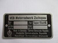 Typenschild Schild IFA VEB DDR Zschopau MZ Super Elastik s42