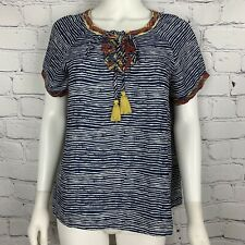 Anthropologie THML Women's Blouse S Blue White Stripe Embroidered