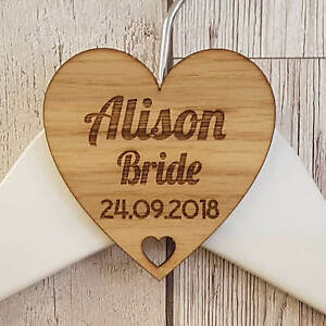 Personalised Wedding Bridal Party Wooden Heart Laser Engraved Coat Hanger Tag T4