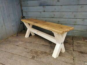 X base cross legged bench rustic reclaimed farmhouse 4 foot unpainted