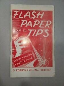 FLASH PAPER TIPS - Robbins Magic book water damage