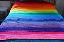 Handmade Crocheted Full Size 55 x 66 Rainbow Afghan Throw Blanket LGBT Pride