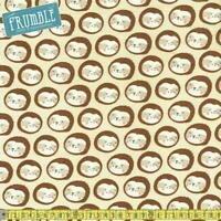 — ½ M Quality 100/% Brushed Cotton Fabric Cute Monkey Faces Dots Circles Print