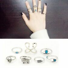 New Boho Jewelry Elephant Midi Rings Set Turquoise Arrow Cross Knuckle