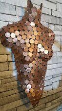 Nude Copper Coin 2p pence Metal Wall Art Female Torso Sculpture Abstract Unique