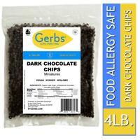 Mini Dark Chocolate Chips, 4 LBS – Food Allergy Safe Vegan & Non GMO by Gerbs