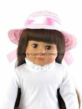 Pink Straw Ribbon Hat 18 in Doll Clothes Fits American Girl Doll