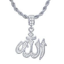"""Men's Silver Plated CZ Iced Allah Sign Pendant 24"""" Rope Chain Necklace HC 1137 S"""