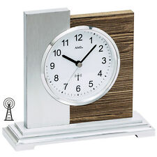 AMS 5149 Tischuhr Funk silbern modern Holz nussbaum farben mit Aluminium
