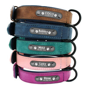 Personalised Dog Collars Soft Leather Padded Custom ID Name Tag Engraved S-2XL