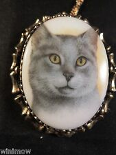 Vintage Porcelain Gray Cat Necklace Cameo Pendant Pet Animal Jewelry