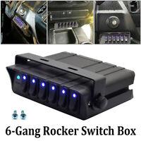 Blue 6-Gang Rocker Switch Box Emergency Strobe Light Bar Toggle Controller Panel