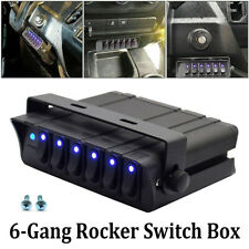 Blue 6-Gang Rocker Switch Box Emergency Strobe Light Bar Toggle Controller Panel