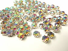100pcs 6mm SS28 Sew on AB CLEAR Faceted Glass Crystal Montees