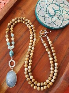 Mala Beads Kyanite Apatite 108 Amazonite Ocean Beach Yoga Meditation Necklace