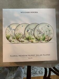 NEW SET/4 Williams Sonoma Floral Meadow Salad Plates Spring/Easter 🐰