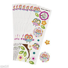 Owl Sticker Sheets...12 Pack...Childrens Party Favours...Party Loot Bag Supplies