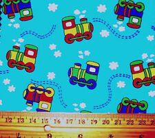 TRAIN SPOTTING TURQUOISE - DESIGN FOR CHILDREN - 100% COTTON FABRIC F.Q.'S