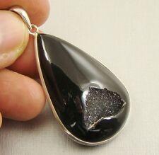 Semipreciosas negro ágata Druzy Piedras Preciosas Plata Esterlina 925 Colgante-B40