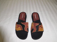 Women's Naturalizer Brown Black Suede Leather Slide Sandals Size 7.5 M