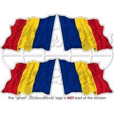 "ROMANIA Romanian Waving Flag 2""(50mm) Vinyl Bumper-Helmet Stickers Decals x4"