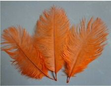 """FEATHERS OSTRICH ORANGE X 5 pcs  Millinery and Crafts 6""""-8"""" 20 x 15cm UK SELLER"""