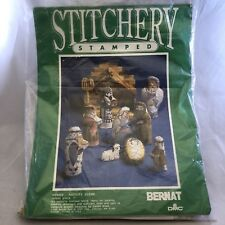 Bernat DMC Stamped Stitchery KIT W03050 NATIVITY SCENE Pillow Doll Set 1989 USA