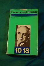 Presences D'Adorno Revue d'Esthétique Inedit 1975 paperback