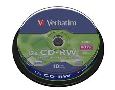 Verbatim 10 CD-RW CD Blank Rewritable Discs 10 Pack 8-12x speed