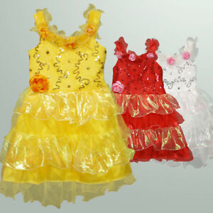 Girls Floral Sparkling Sequin Pageant Party Dress AU Size 3-7 Yellow Red White
