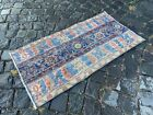 %100 WOOL HANDMADE TURKISH SMALL RUG, VINTAGE FROM 1960s, CARPET   1,7 x 3,3 ft