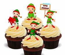 Christmas Elves - Wafer Cupcake Toppers, Fairy Cake Bun Decorations Elf Shelf