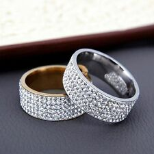Couple Gold Silver CZ Stainless Steel Rings Wedding Band Ring Men/Women's