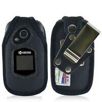 Kyocera DuraXTP Flip Phone Case Turtleback Black Nylon Removable Metal Clip
