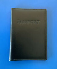 PASSPORT HOLDER TRAVEL CASE COVER WALLET - GENUINE LEATHER -MADE IN ITALY -BLACK