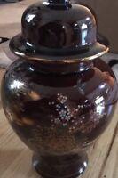Japanese Ginger Jar  Brown w/Bamboo Chrysanthemum