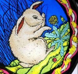 Vintage Sun Catcher Glassmasters Stained Glass Window Bunny Rabbit 1978 6 in