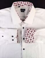 Rosso Milano Shirt Size 18 2XL Modern Fit Italy White w/ White Pattern Red Trim