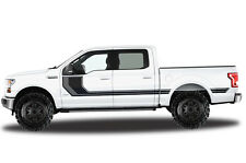 Vinyl Decal Wrap RALLY STRIPE 2 for Ford F-150 15-17 SuperCrew 5.5 Bed BLK+GRAY