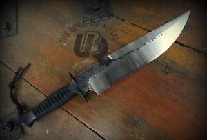 UBR CUSTOM HANDMADE HIGH CARBON STEEL HUNTING BOWIE KNIFE WITH LEATHER SHEATH