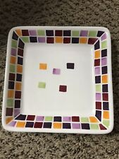 """Pampered Chef Square Lunch Salad Plates 7.25"""" Mosaic Tile Simple Additions (1)"""
