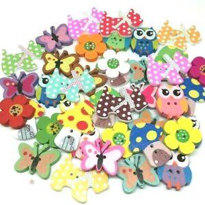 40 Mix Wooden Flower Butterfly Dog Owl Buttons Craft Cardmaking Embellishments