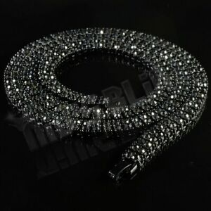 Jet Black Onyx 2 Row Flooded Out Iced Lab Diamond Chain Hip Hop Tennis Necklace
