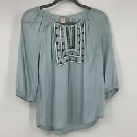 Lucky Brand Women's Small  Blouse Flowy Embroidery Boho Festival Casual