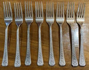 INTERPUR Stainless FLORENZ Set Of 4 Dinner Forks 8 Petal